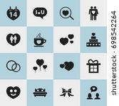 set of 16 editable love icons.... | Shutterstock .eps vector #698542264