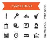 set of 12 editable hotel icons. ...