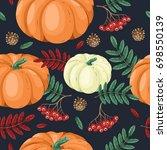 autumn seamless pattern in... | Shutterstock .eps vector #698550139
