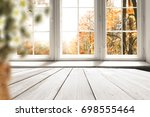 white table on the background... | Shutterstock . vector #698555464