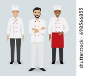 chef and two cook in uniform... | Shutterstock . vector #698566855