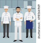 chef and two cook in uniform... | Shutterstock . vector #698566969