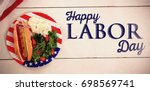 poster of happy labor day text... | Shutterstock . vector #698569741