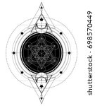 lotus and sacred geometry.... | Shutterstock .eps vector #698570449