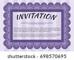 violet vintage invitation... | Shutterstock .eps vector #698570695