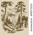 vintage sketch hand drawn... | Shutterstock .eps vector #698571025