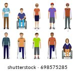 set of ten disabled people... | Shutterstock . vector #698575285