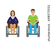disability people man and woman ... | Shutterstock . vector #698575531