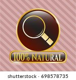 gold emblem or badge with... | Shutterstock .eps vector #698578735