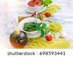 homemade basil pesto sauce and... | Shutterstock . vector #698593441