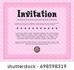 pink formal invitation.... | Shutterstock .eps vector #698598319