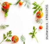 fresh vegetables. frame of... | Shutterstock . vector #698610931