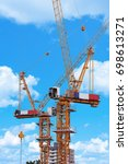 construction cranes  | Shutterstock . vector #698613271