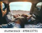 man relaxing and sleeping... | Shutterstock . vector #698613751