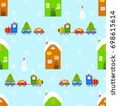 house train christmas seamless... | Shutterstock . vector #698615614