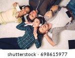 happy multiracial friends...   Shutterstock . vector #698615977