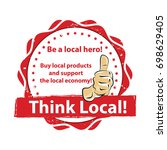 think local. buy local products ... | Shutterstock .eps vector #698629405