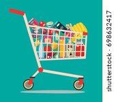 shopping cart full of groceries ... | Shutterstock .eps vector #698632417