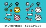 dog toy puppy icon dog paw... | Shutterstock .eps vector #698634139