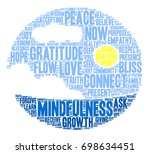 mindfulness word cloud on a... | Shutterstock .eps vector #698634451