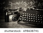 old vintage retro camera with... | Shutterstock . vector #698638741