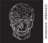 skull drawing  illustration ... | Shutterstock .eps vector #698641615