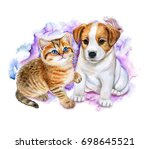 Stock photo british kitten and puppy jack russel on a colored background watercolor illustration template 698645521