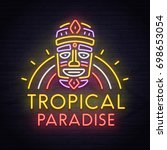 tropical tiki mask neon sign.... | Shutterstock .eps vector #698653054
