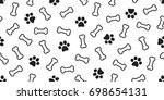 Stock vector dog bone vector dog paw doodle seamless pattern isolated wallpaper background 698654131