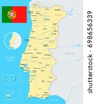 portugal map and flag   vector... | Shutterstock .eps vector #698656339