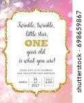first birthday invitation for... | Shutterstock .eps vector #698659867