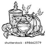 halloween. vector illustration. ... | Shutterstock .eps vector #698662579