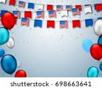colorful festive garlands of... | Shutterstock .eps vector #698663641