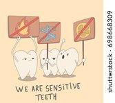 sensitive teeth protest against ... | Shutterstock .eps vector #698668309