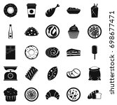 street food icons set. simple... | Shutterstock .eps vector #698677471