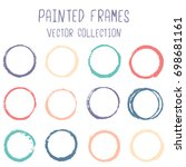 blue  yellow and red round... | Shutterstock .eps vector #698681161