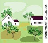 rustic houses standing...   Shutterstock .eps vector #698682355