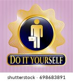 gold emblem or badge with... | Shutterstock .eps vector #698683891