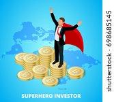 isometric superhero businessman ... | Shutterstock .eps vector #698685145