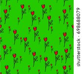 red roses on a green background
