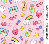 hippie style seamless pattern...   Shutterstock .eps vector #698688091