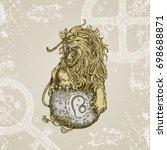 vintage sign of zodiac. leo.... | Shutterstock .eps vector #698688871