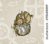 vintage sign of zodiac. pisces. ...   Shutterstock .eps vector #698688889