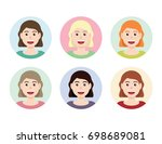 round female head icons with...   Shutterstock .eps vector #698689081
