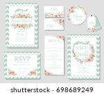 set of wedding invitation card .... | Shutterstock .eps vector #698689249