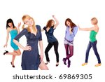 five beautiful girls over white ... | Shutterstock . vector #69869305