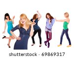 five beautiful girls over white ... | Shutterstock . vector #69869317