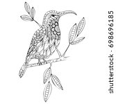 hand drawn bird zentagle stile. ... | Shutterstock .eps vector #698696185