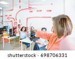 content woman working with... | Shutterstock . vector #698706331