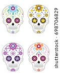 mexican day of the dead sugar... | Shutterstock .eps vector #698706829